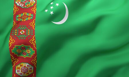 Flag of Turkmenistan blowing in the wind. Full page Turkmen flying flag. 3D illustration. Imagens