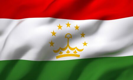 Flag of Tajikistan blowing in the wind. Full page Tajik flying flag. 3D illustration.