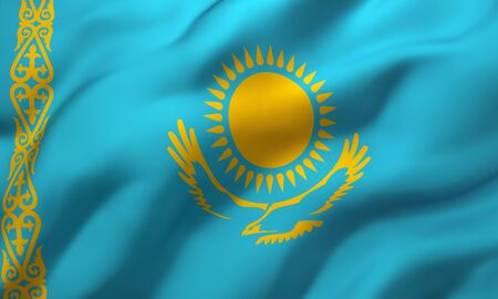 Flag of Kazakhstan blowing in the wind. Full page Kazakhstani flying flag. 3D illustration.