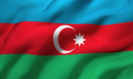 Flag of Azerbaijan blowing in the wind. Full page Azerbaijani flying flag. 3D illustration.