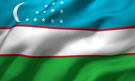 Flag of Uzbekistan blowing in the wind. Full page Uzbek flying flag. 3D illustration.