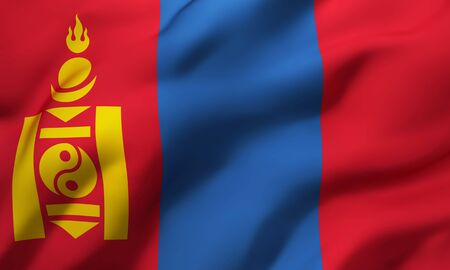 Flag of Mongolia blowing in the wind. Full page Mongolian flying flag. 3D illustration.