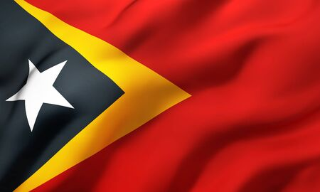 Flag of East Timor blowing in the wind. Full page East Timorese flying flag. 3D illustration. Zdjęcie Seryjne