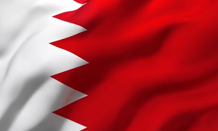 Flag of Bahrain blowing in the wind. Full page Bahraini flying flag. 3D illustration. Zdjęcie Seryjne