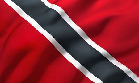 Flag of Trinidad and Tobago blowing in the wind. Full page flying flag. 3D illustration.