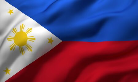 Flag of Philippines blowing in the wind. Full page Philippines flying flag. 3D illustration.
