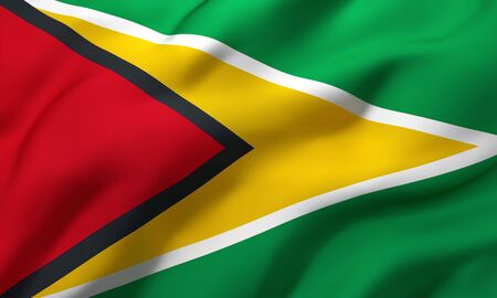 Flag of Guyana blowing in the wind. Full page Guyanese flying flag. 3D illustration.