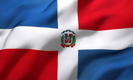 Flag of Dominican Republic blowing in the wind. Full page Dominican flying flag. 3D illustration.