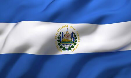 Flag of El Salvador blowing in the wind. Full page Salvadoran flying flag. 3D illustration. Imagens