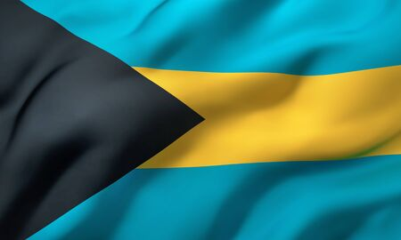 Flag of Bahamas blowing in the wind. Full page Bahamian flying flag. 3D illustration.