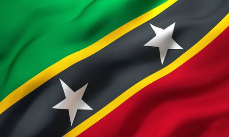 Flag of Saint Kitts and Nevis blowing in the wind. Full page Saint Kitts flying flag. 3D illustration. Imagens
