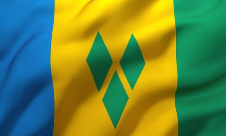 Flag of Saint Vincent and the Grenadines blowing in the wind. Full page Saint Vincent flying flag. 3D illustration.