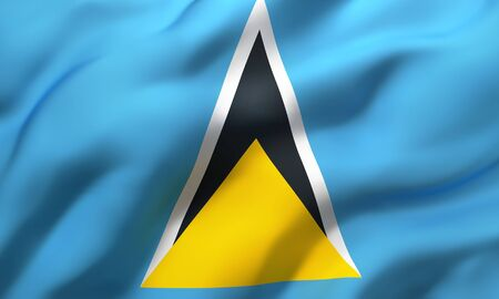 Flag of Saint Lucia blowing in the wind. Full page Saint Lucian flying flag. 3D illustration.