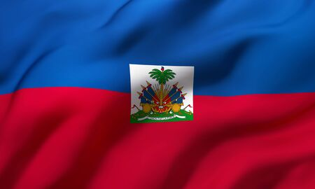 Flag of Haiti blowing in the wind. Full page Haitian flying flag. 3D illustration.