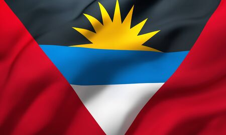 Flag of Antigua and Barbuda blowing in the wind. Full page Antiguan flying flag. 3D illustration.