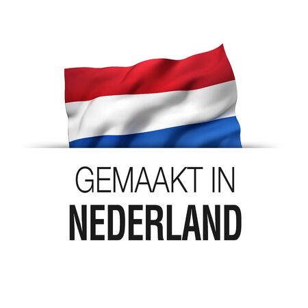 Made in Netherlands written in Dutch language. Guarantee label with a waving Dutch flag.