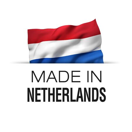 Made in Netherlands - Guarantee label with a waving Dutch flag.