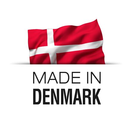 Made in Denmark - Guarantee label with a waving Danish flag.
