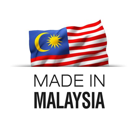 Made in Malaysia - Guarantee label with a waving Malaysian flag.
