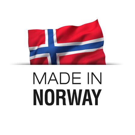 Made in Norway - Guarantee label with a waving Norwegian flag.