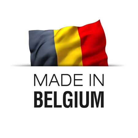 Made in Belgium - Guarantee label with a waving Belgian flag. Imagens