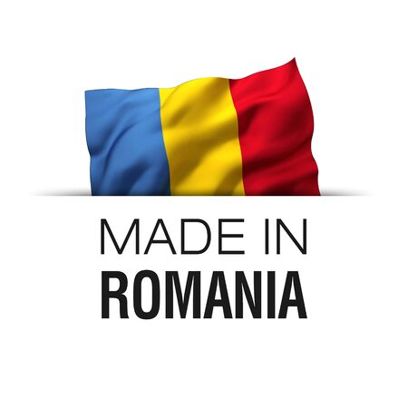 Made in Romania - Guarantee label with a waving Romanian flag. Imagens