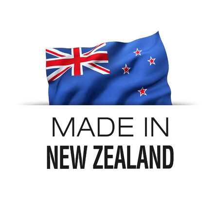 Made in New Zealand - Guarantee label with a waving New Zealand flag. 3D illustration. Imagens