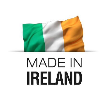 Made in Ireland - Guarantee label with a waving Irish flag. 3D illustration. Imagens