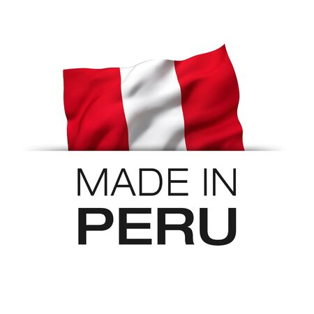 Made in Peru - Guarantee label with a waving Peruvian flag. 3D illustration.
