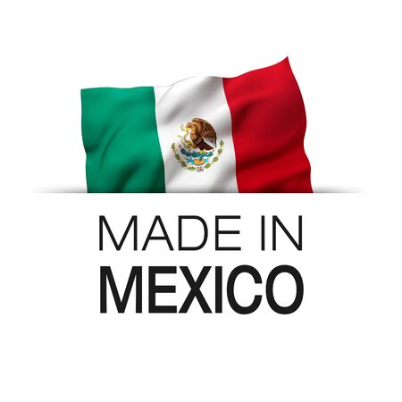 Made in Mexico - Guarantee label with a waving Mexican flag. 3D illustration. Zdjęcie Seryjne - 147261699