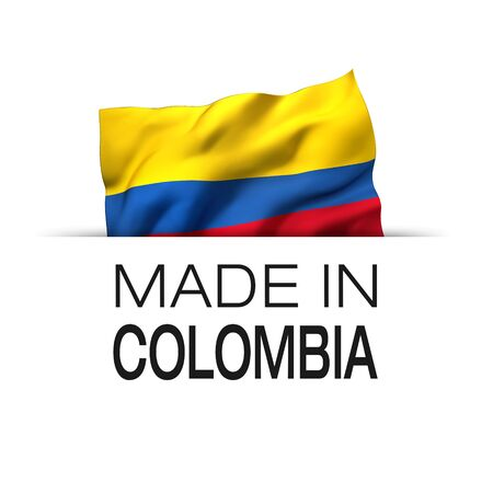 Made in Colombia - Guarantee label with a waving Colombian flag. 3D illustration.