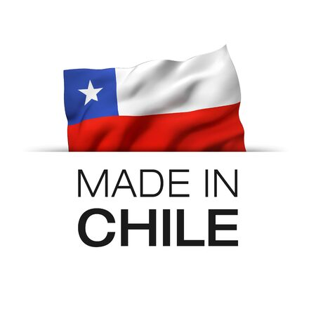 Made in Chile - Guarantee label with a waving Chilean flag. 3D illustration. Imagens