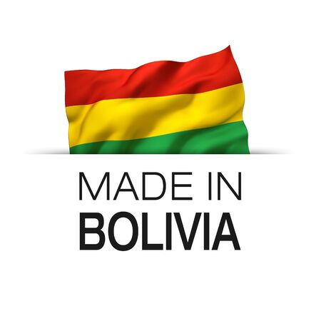 Made in Bolivia - Guarantee label with a waving Bolivian flag. 3D illustration.