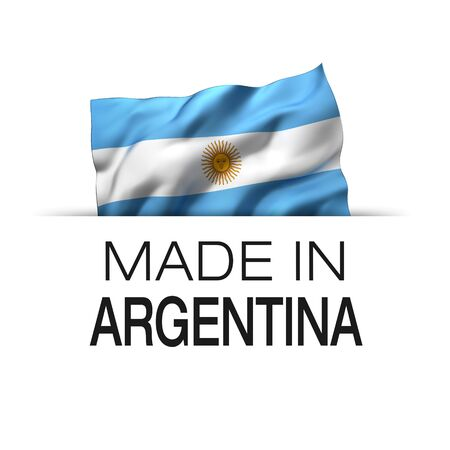 Made in Argentina - Guarantee label with a waving Argentinian flag. 3D illustration.