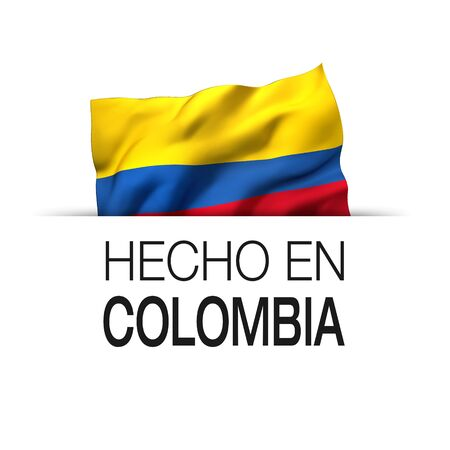 Made in Colombia written in Spanish- Guarantee label with a waving Colombian flag. 3D illustration.