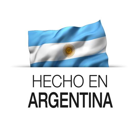 Made in Argentina written in Spanish- Guarantee label with a waving Argentinian flag. 3D illustration. Imagens