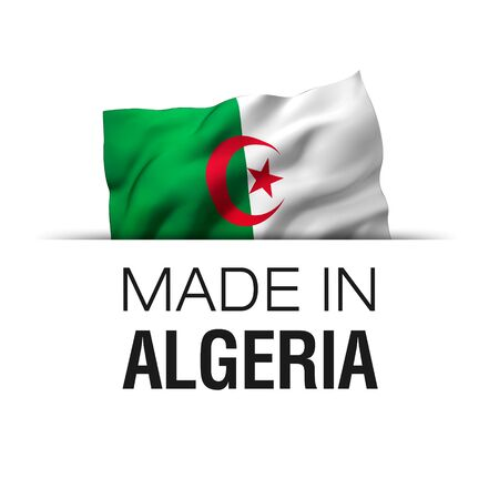Made in Algeria - Guarantee label with a waving Algerian flag. 3D illustration. Zdjęcie Seryjne - 147261777