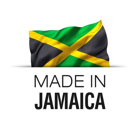 Made in Jamaica - Guarantee label with a waving Jamaican flag. 3D illustration.