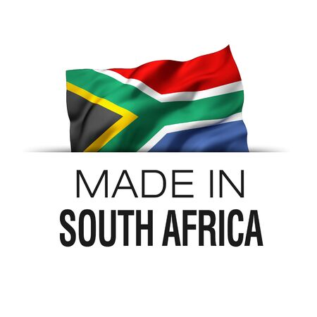 Made in South Africa - Guarantee label with a waving South African flag. 3D illustration. Imagens