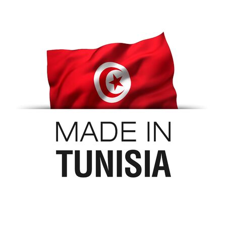 Made in Tunisia - Guarantee label with a waving Tunisian flag. 3D illustration.