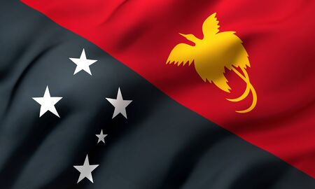 Flag of Papua New Guinea blowing in the wind. Full page Papuan flying flag. 3D illustration.