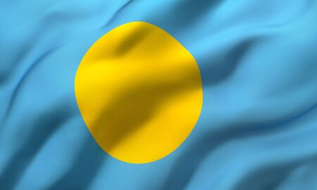Flag of Palau blowing in the wind. Full page Palauan flying flag. 3D illustration. Zdjęcie Seryjne - 147261807