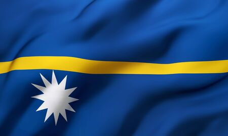 Flag of Nauru blowing in the wind. Full page Nauruan flying flag. 3D illustration. Zdjęcie Seryjne - 147261808