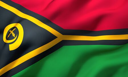 Flag of Vanuatu blowing in the wind. Full page Vanuatuan flying flag. 3D illustration. Imagens