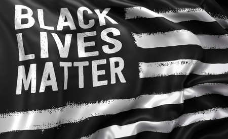 Black lives matter flag blowing in the wind. Full page flying flag. 3D illustration. Imagens