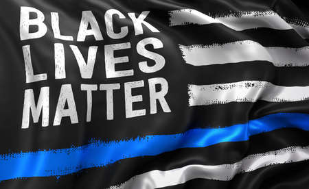 Black lives matter flag, with a blue line, blowing in the wind. Full page flying flag. 3D illustration.