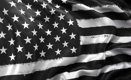 Black lives matter flag blowing in the wind. Full page striped black and white USA flying flag. 3d illustration. Imagens