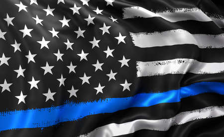 Black lives matter flag, with a blue line, blowing in the wind. Full page striped black and white USA flying flag. 3d illustration. Zdjęcie Seryjne