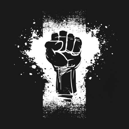 Raised fist illustration, as a symbol for resistance, on black background. Black Lives Matter banner. Zdjęcie Seryjne - 152291651