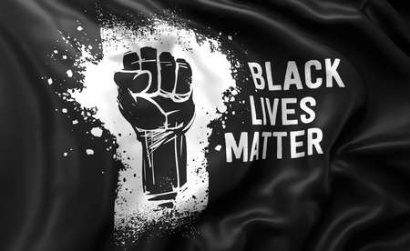 Black Lives Matter white text and raised fist on a black flag, blowing in the wind. Full page flying flag. 3d illustration.